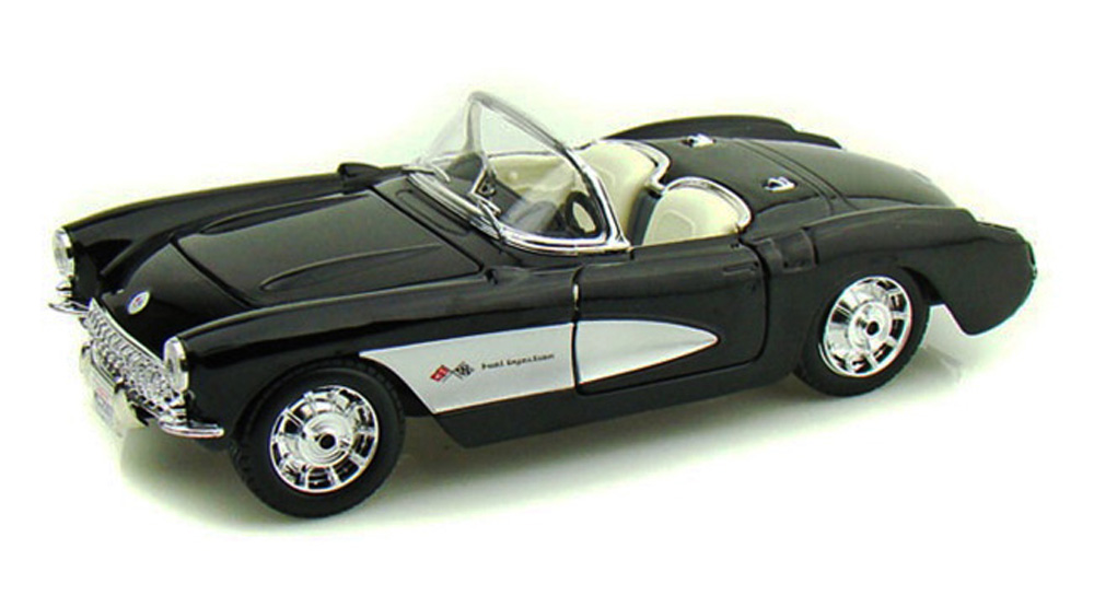 1957 Chevy Corvette Convertible, Black Maisto 34275 1 24 Scale Diecast Model Toy Car... by Maisto