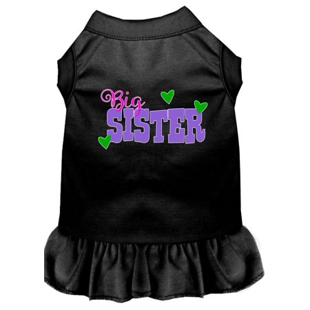 Big Sister Screen Print Dog Dress Black Lg Big Dot Dress