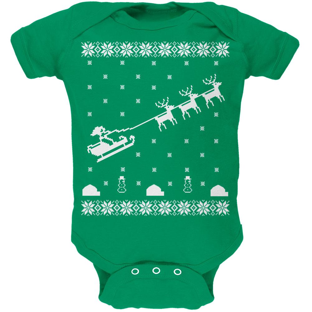 Flying Santa Sleigh Ugly XMAS Sweater Kelly Green Soft Baby One Piece