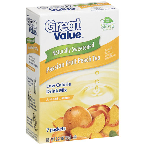 Great Value Naturally Sweetened Passion Fruit Peach Tea Low Calorie Drink Mix, 2.22 oz, 7ct