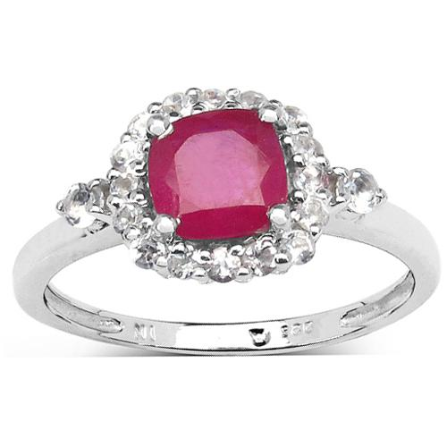 Malaika Sterling Silver 2ct TGW Ruby and White Topaz Ring Size 8