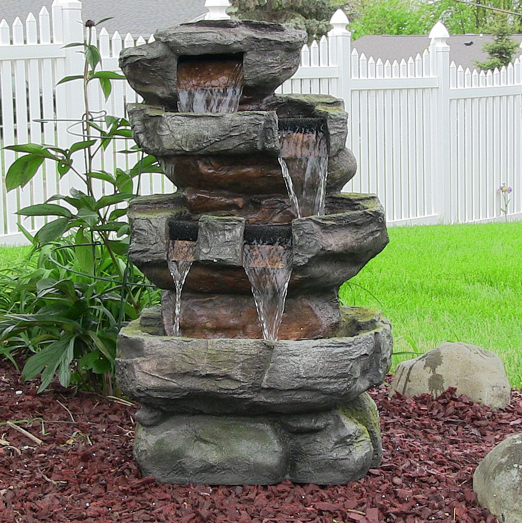 Sunnydaze Outdoor Tiered Stone Waterfall Garden Fountain with LED Lights, 24 Inch Tall