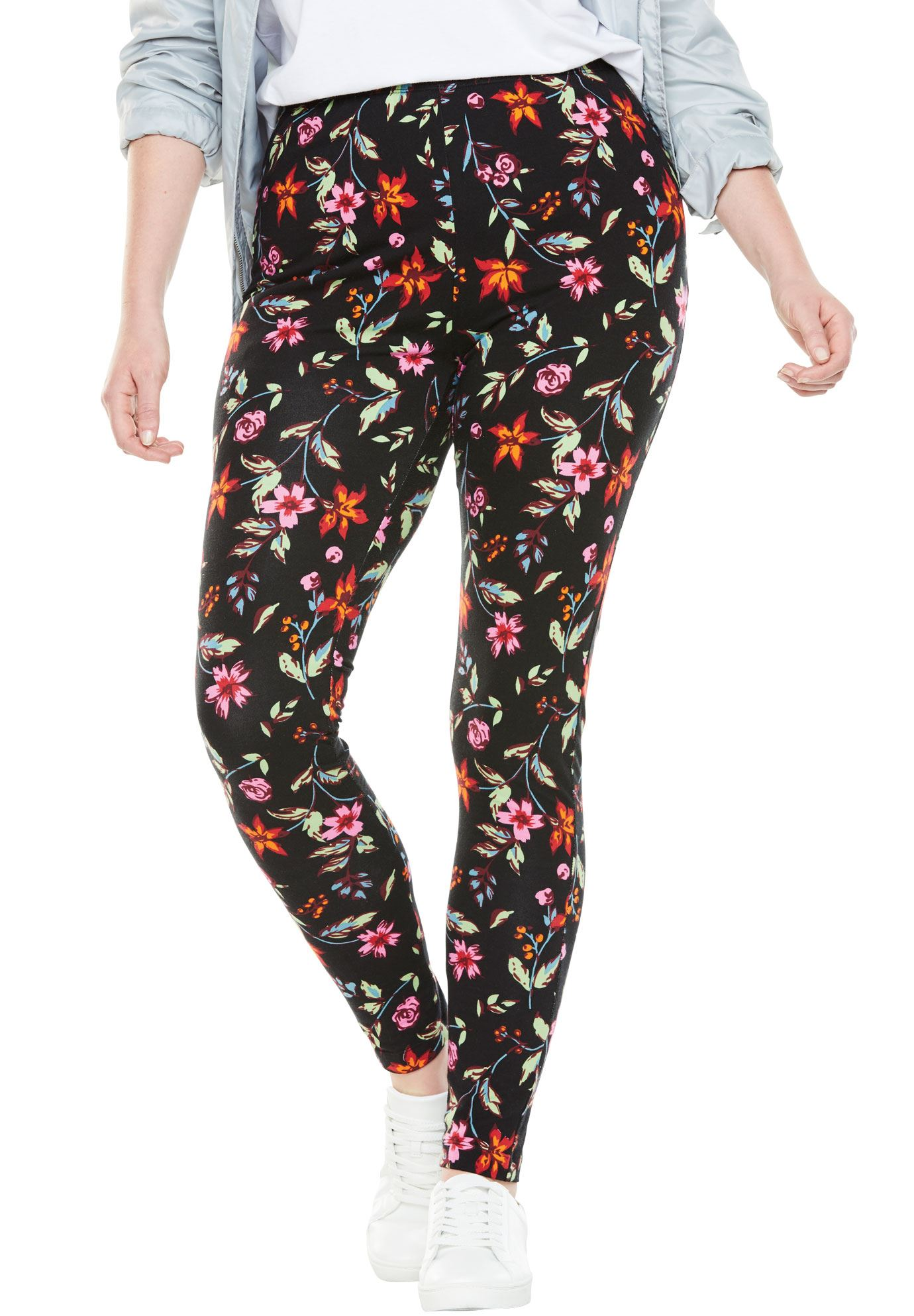 f3baa9bea90ca Woman Within - Plus Size Tall Stretch Cotton Printed Legging ...
