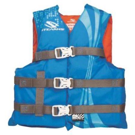 Classic Youth Blue & Orange 3 Buckle Closed Side Vest Leg Strap Grab Handle