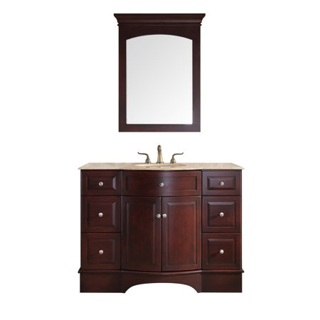 Stufurhome 48 Inch Lotus Single Sink Vanity With Travertine Marble