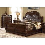 McFerran B9500-EK Amber Dark Cherry Finish Luxury Tufted Eastern King Sleigh Bed
