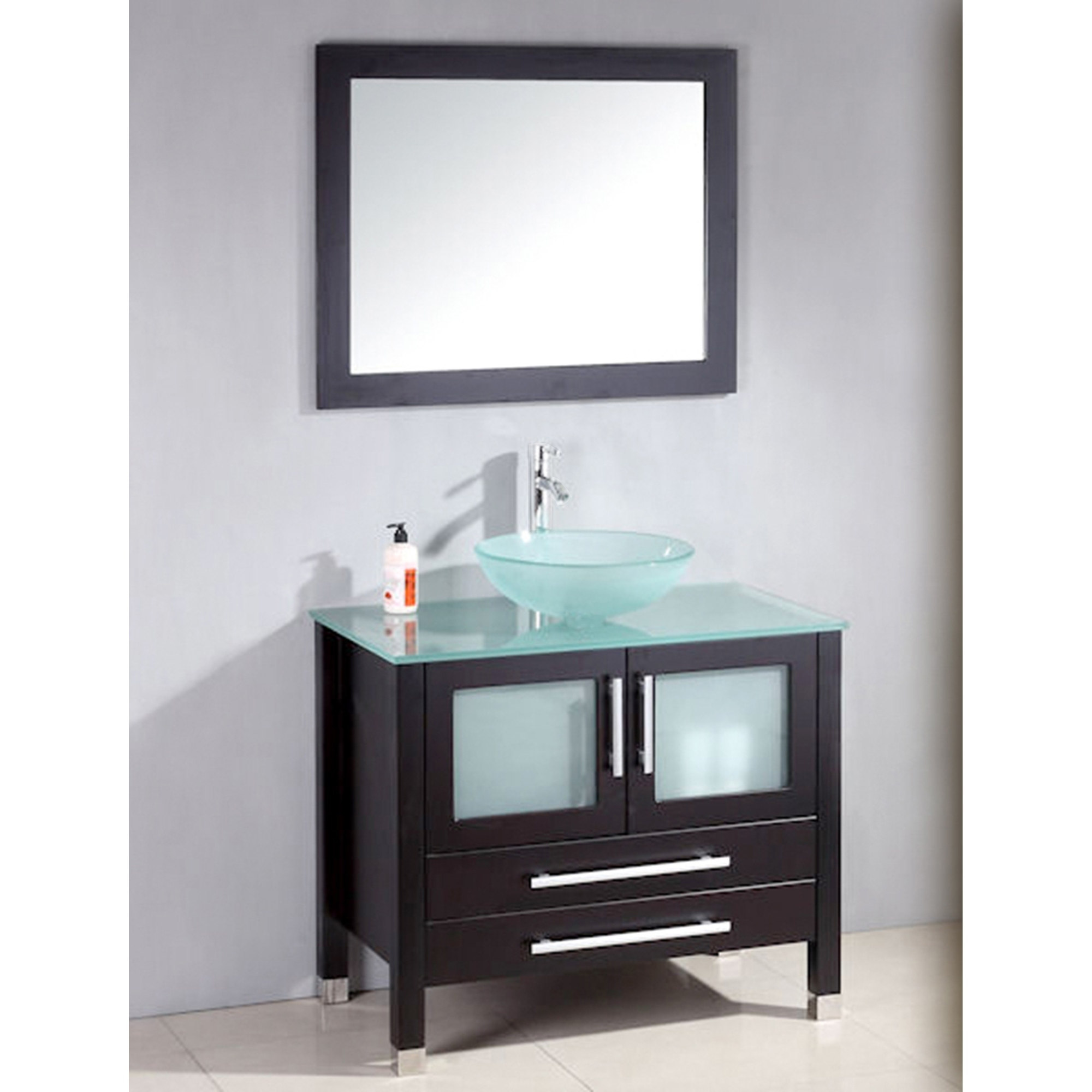 Cambridge Plumbing 36 inch Solid Wood Glass Vessel Sink Set with Brushed Nickel faucet.