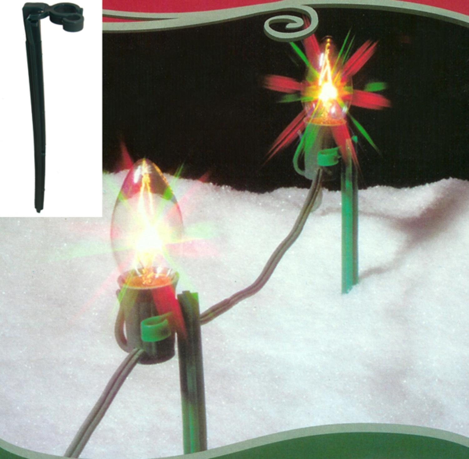 Pack of 25 Green Christmas Light Stakes for Outdoor Decorating 8""