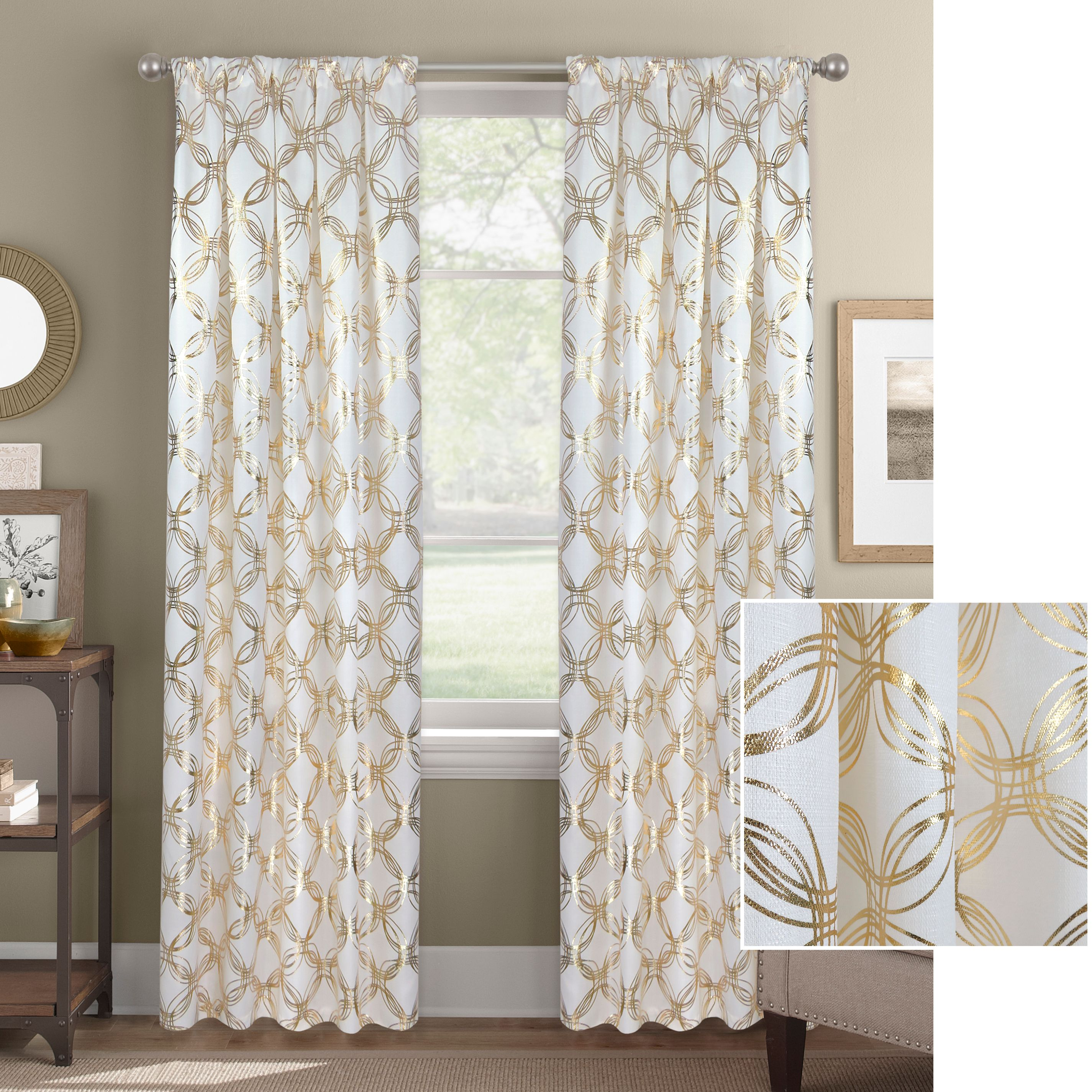 Better Homes and Gardens Chainlink Metallic Gold or Silver Window Curtain Panel