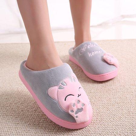 Coxeer Women Winter Warm Home Slippers Cartoon Lucky Cat Non Slip