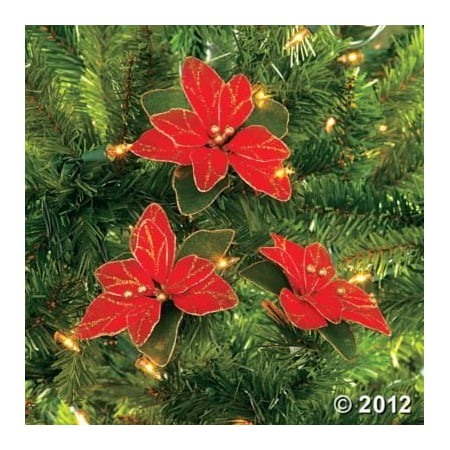 (Pack of 12) Red Glitter Poinsettia Christmas Tree Ornaments (Snowy Poinsettia)