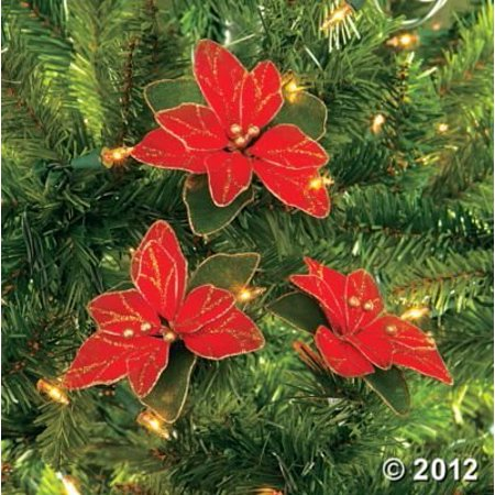 (Pack of 12) Red Glitter Poinsettia Christmas Tree Ornaments - Walmart.com