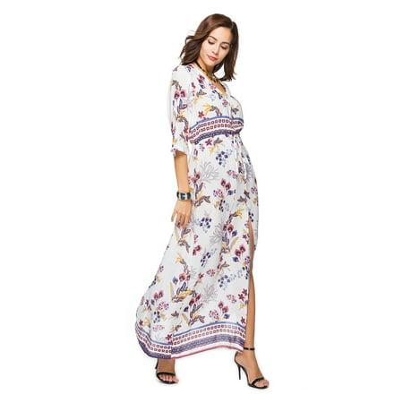 ada8609969e GLOGLOW - GLOGLOW Bohemian Style Women Lady V-neck Half Sleeve Design  Beautiful Print Dress