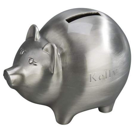 4 x 5 in. Pewter Finish Pig Bank, Large - (Pewter Pig)