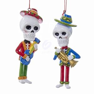 1 Set 2 Assorted Day of the Dead Skeletons Guitar and Trumpet player Christmas Ornaments