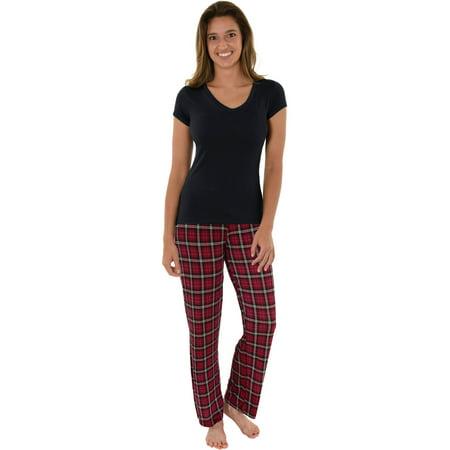 Ladies 2 Piece Pj - Womens Pajama Set 2 Piece Black T-shirt Red Black Plaid PJ Pants Sleepwear Set