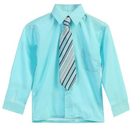 Boys Aqua Stripe Tie Long Sleeve Button Special Occasion Dress Shirt
