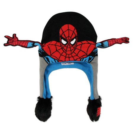 Marvel Avengers Spiderman Squeeze and Flap Fun Cold Weather Hat, Boys, Age 4-18