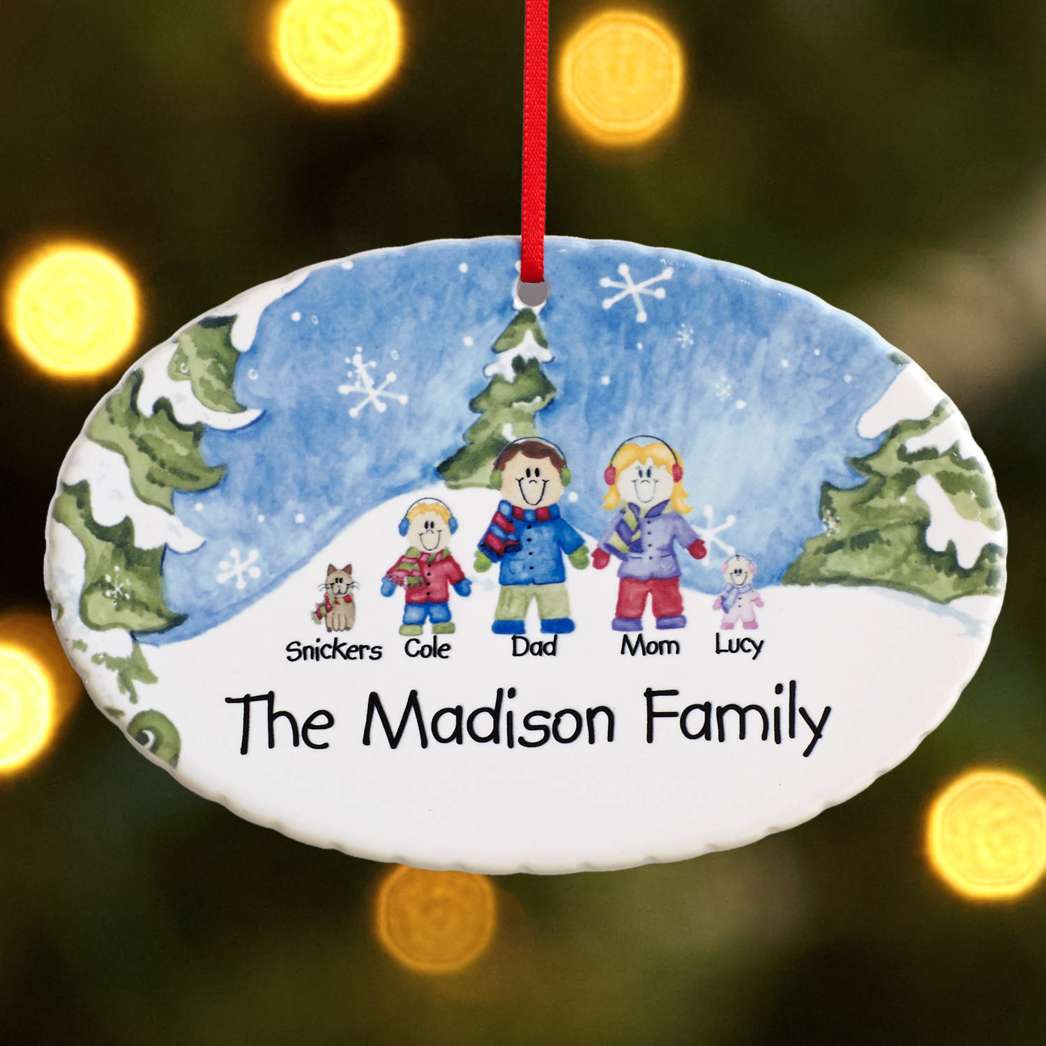 Personalized Winter Family Characters Ornament