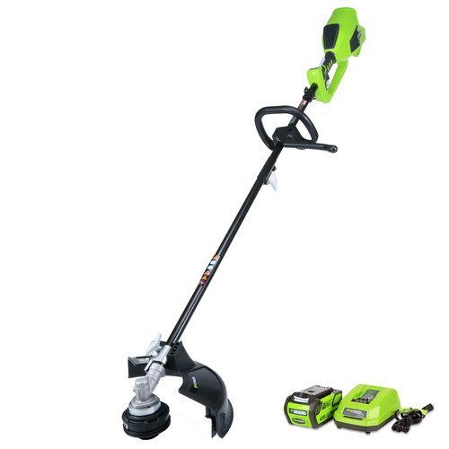 "GreenWorks 21362 40V Brushless 14"" String Trimmer, includes 4Ah Battery and Charger, Attachment Capable"