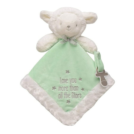Lamb Snuggle Buddy with Paci Holder, White/Green, Secures baby's pacifier with a convenient velcro strap By Baby Starters Baby Buddy Pacifier Holder