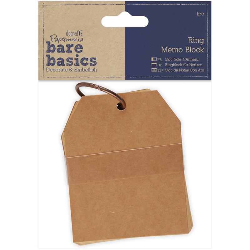 "Papermania Bare Basics Kraft Ring Memo Block-3.25""x4.5"""