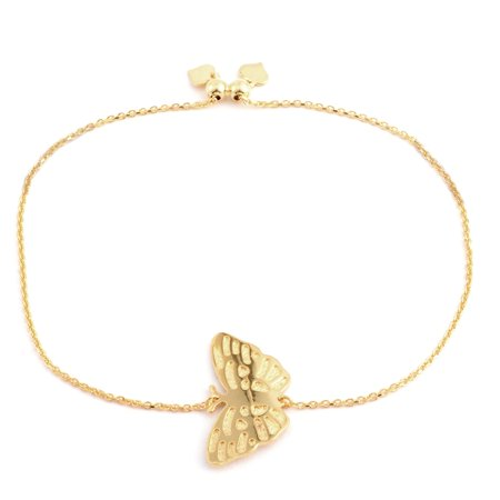 925 Sterling Silver 14K Yellow Gold Plated Butterfly Bracelet for Women - Sterling Butterfly Bracelet