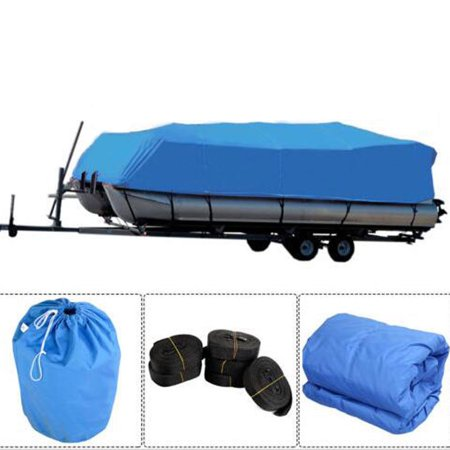 600D Trailerable Oxford Fabric Waterproof Heavy Duty Pontoon Runabout Boat Cover for 17 to 20 ft Boat with Carrying Bag