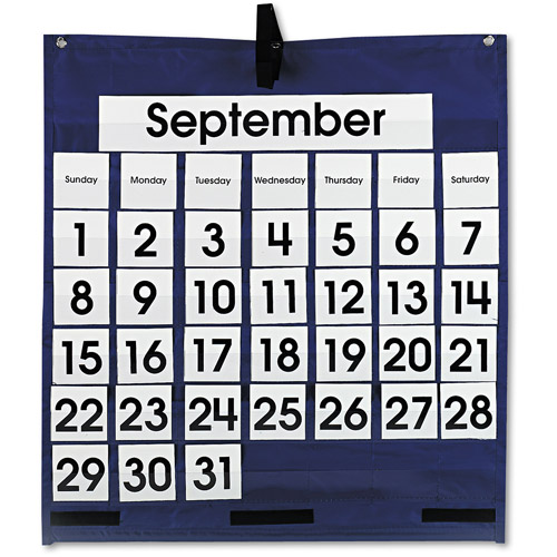 Carson-Dellosa Publishing CD-5605 Monthly Calendar 43-Pocket Chart With Day/week Cards, Blue, 25 X 28 1/2