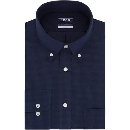 """IZOD Men's Dress Shirts Regular Fit Stretch Gingham, Dark Blue, 17""""-17.5"""" Neck 36""""-37"""" Sleeve - image 1 of 1"""