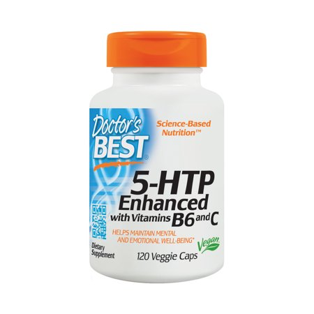Doctor's Best 5-HTP Enhanced with Vitamins B6 and C, Non-GMO, Vegan, Gluten Free, Soy Free, 120 Veggie