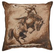 """Set of 2 Country Western """"Cowboy by Choice Square Decorative Tapestry Throw Pillows 17"""""""