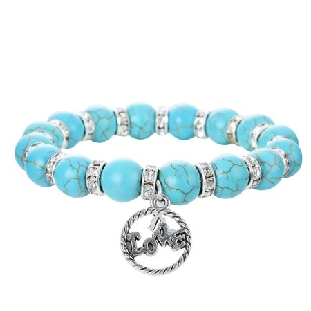 Vintage Spacer - Faux Turquoise Round Stone Stretch Bracelet w/ Crystal Spacers & a Rhodium Plated Vintage Love Twisted Rope Pendant By JADA Collections