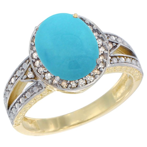 14K Yellow Gold Natural Turquoise Ring Oval 9x7.5 mm Diamond Halo, size 7.5