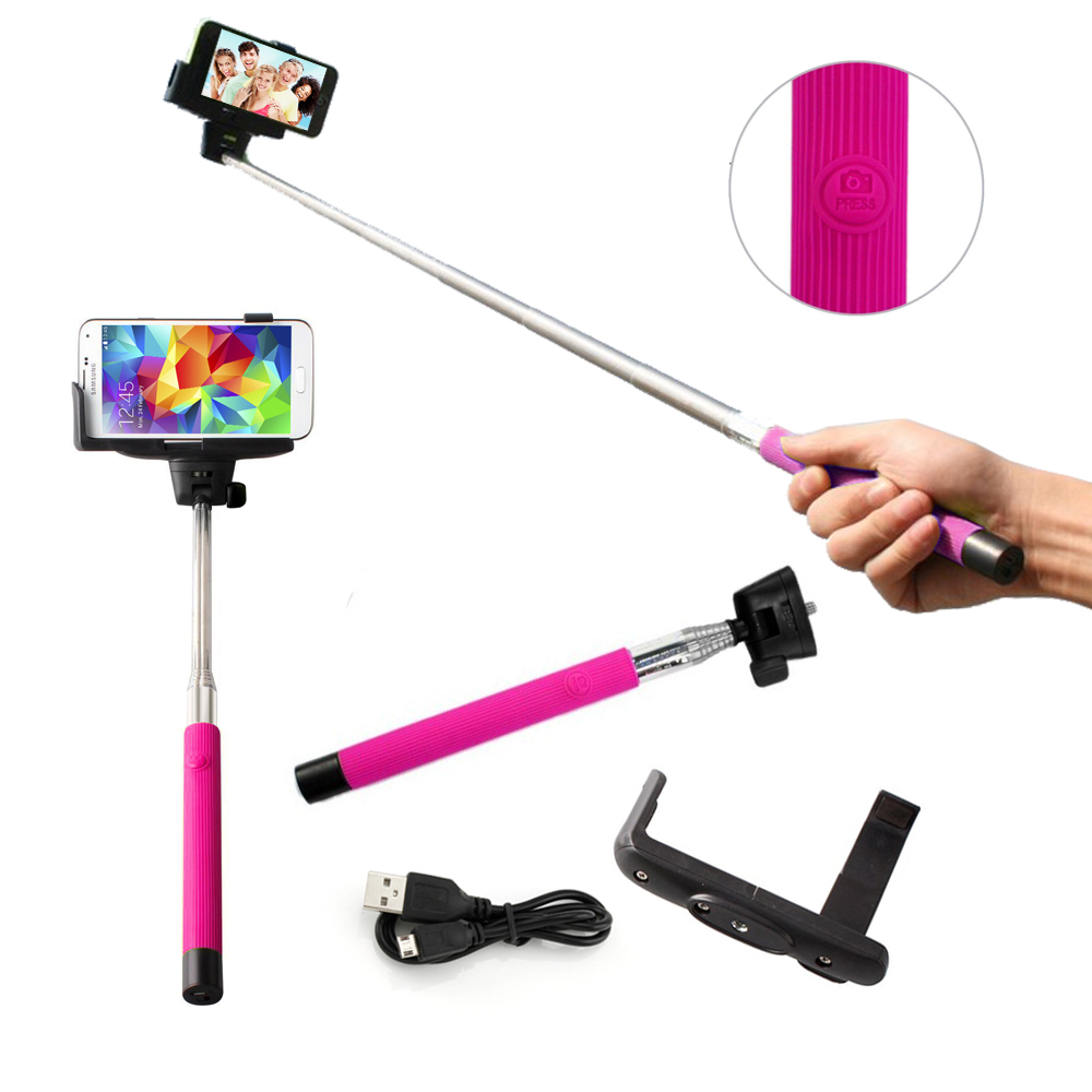 Selfie Stick Pro Mono pad with Built-in Bluetooth remote on Handle for GoPro IOS Apple Android - Pink