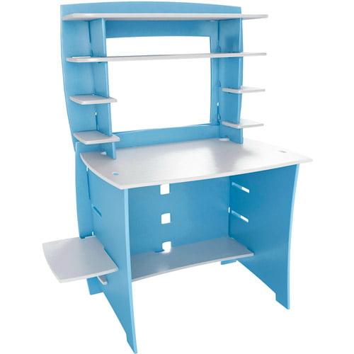 No Tools Assembly Desk With Hutch Blue Walmart Com