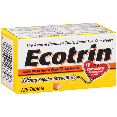 Ecotrin Safety Coated Aspirin Tablets 325mg Regular Strength - 125 CT