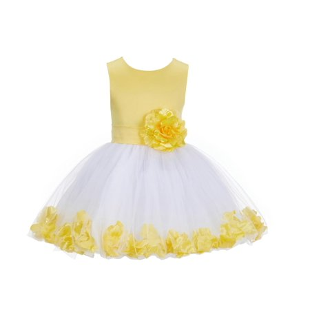 Ekidsbridal Rose Petals Flower Girl Dress Tulle Bridesmaid Wedding Pageant Toddler Recital Easter Holiday Communion Birthday Baptism Special Occasions Princess Formal Events Summer 305S