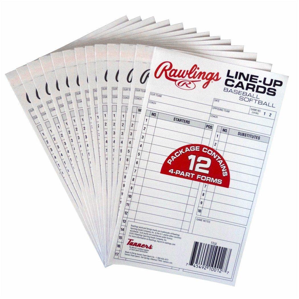 Rawlings Baseball Tee Ball/Baseball/Softball 4-Part Carbonless Lineup Cards 17LU