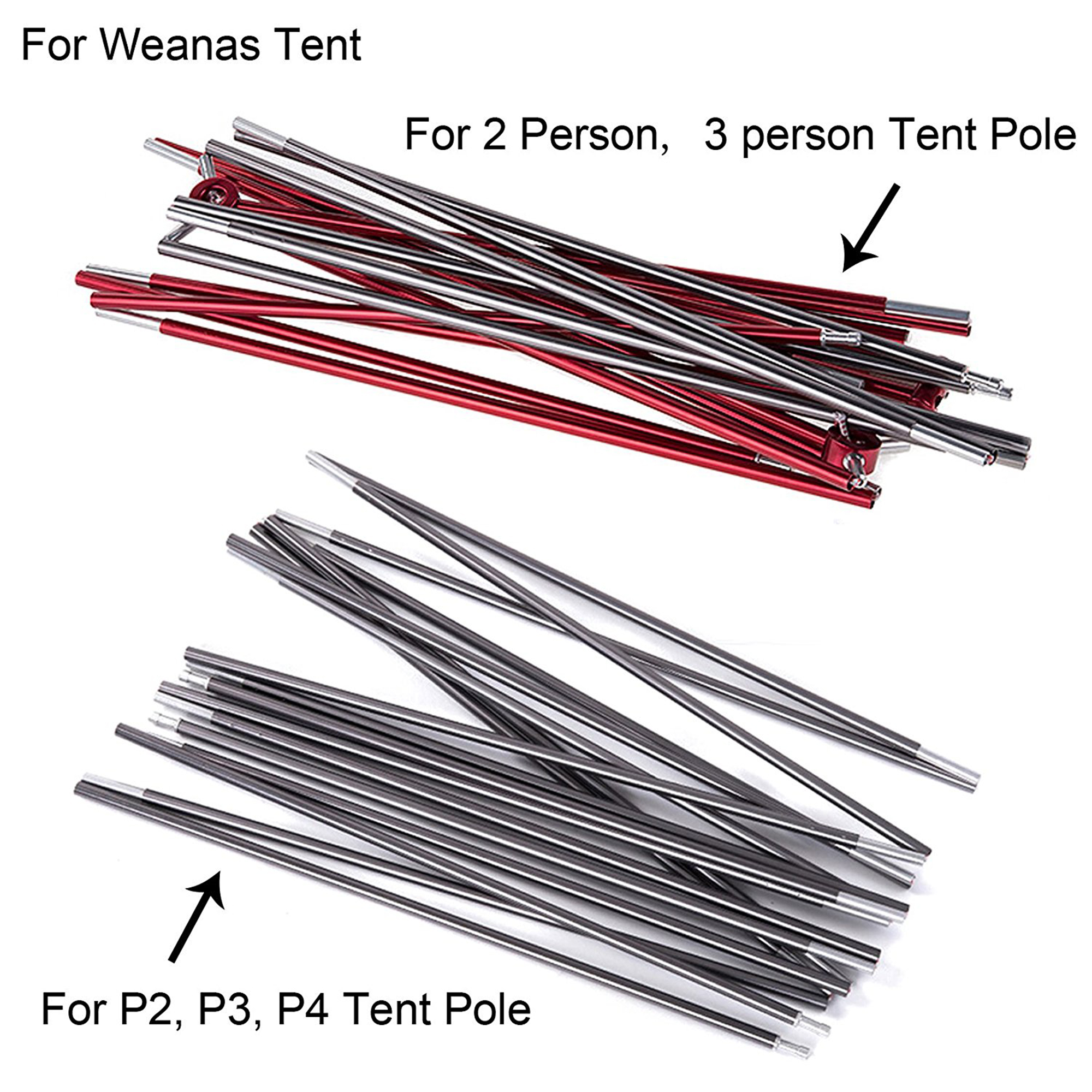 "WEANAS Aluminum Rod Tent Pole Replacement Accessories ( 12'2"" x 2 )"