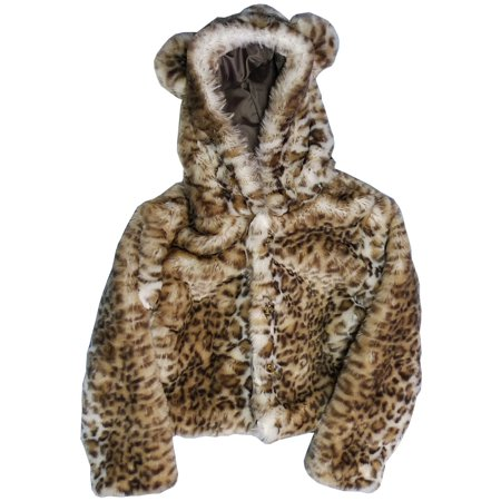 Girls Snow Leopard Critter Ears Button Closure Faux Fur Hood Jacket
