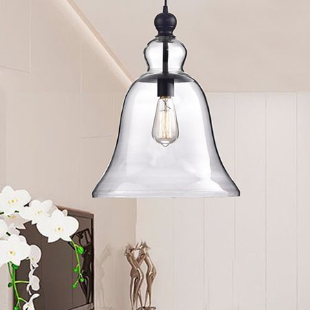 The Lighting Store Yamila Antique Black Bell-shaped Glass Pendant Light