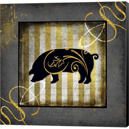 Gold Welcome To Our Bistro Pig by LightBoxJournal, Canvas Wall Art