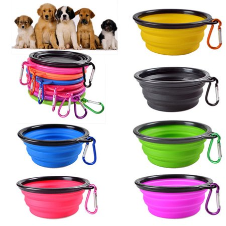 Collapsible Pet Dog Silicone Bowl for Outdoor Food Water Feeding Pink 13*5.5 ()
