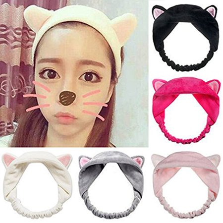 Cute Cat Ear Hair Band Women Wash Face Hairbands for Makeup Running Sport (White & Black & Grey & Pink & Rose Red), 5pcs Pack (Pink Ladies Makeup And Hair)