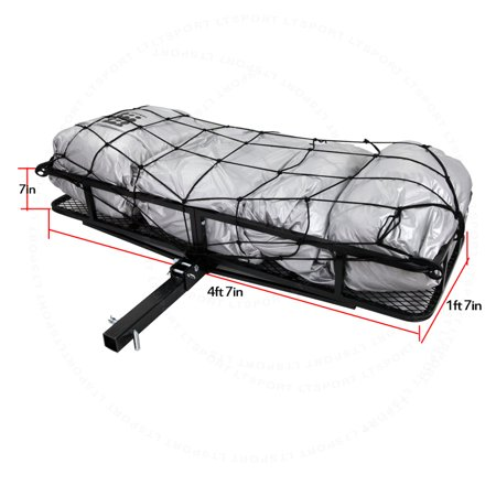 fit isuzu trailer hitch storage rack cargo net carrier w 57x21 folding basket. Black Bedroom Furniture Sets. Home Design Ideas
