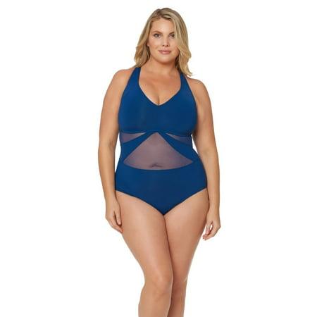 Bleu Rod Beattie Women Plus Size V-Neck Mesh Crossback 1-PC Swimsuit Navy (The Best Baby Back Ribs Ever)
