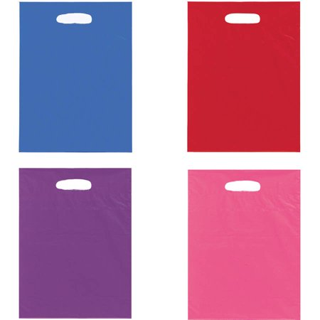 Large Plastic Goodie Bags, 15 x 11 in, Assorted, 8ct