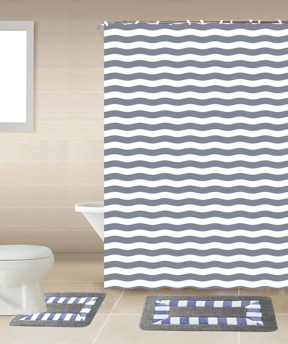 Striped Gray & White 15-Piece Bathroom Accessory Set: 2 Bath Mats, Shower Curtain & 12... by