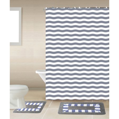 15pc Grey Striped Bathroom Set Printed Banded Rubber Backing Rug Bath Mats With Fabric Shower